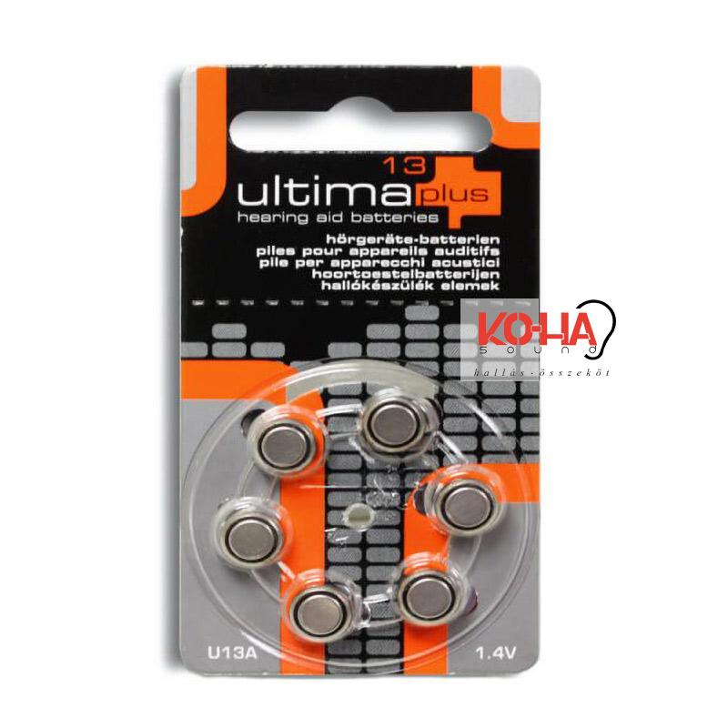 Ultima Plus hallókészülék elem, 13-as méret, 6 db/ levél