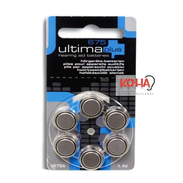 Ultima Plus hallókészülék elem, 675-ös méret, 6 db/ levél